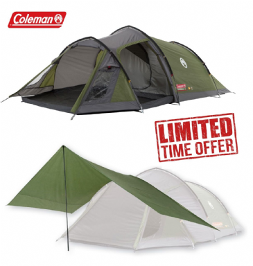 Coleman Camping Tent Package Deal - Tasman 3 Man Tunnel Tent with Coleman Tarp